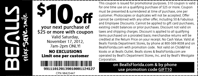 Hop over to the Bealls Florida coupon page for all the latest live promo and coupon codes. You can find a ton of limited time deals on apparel, shoes, home items, bed and bath items, handbags and more.