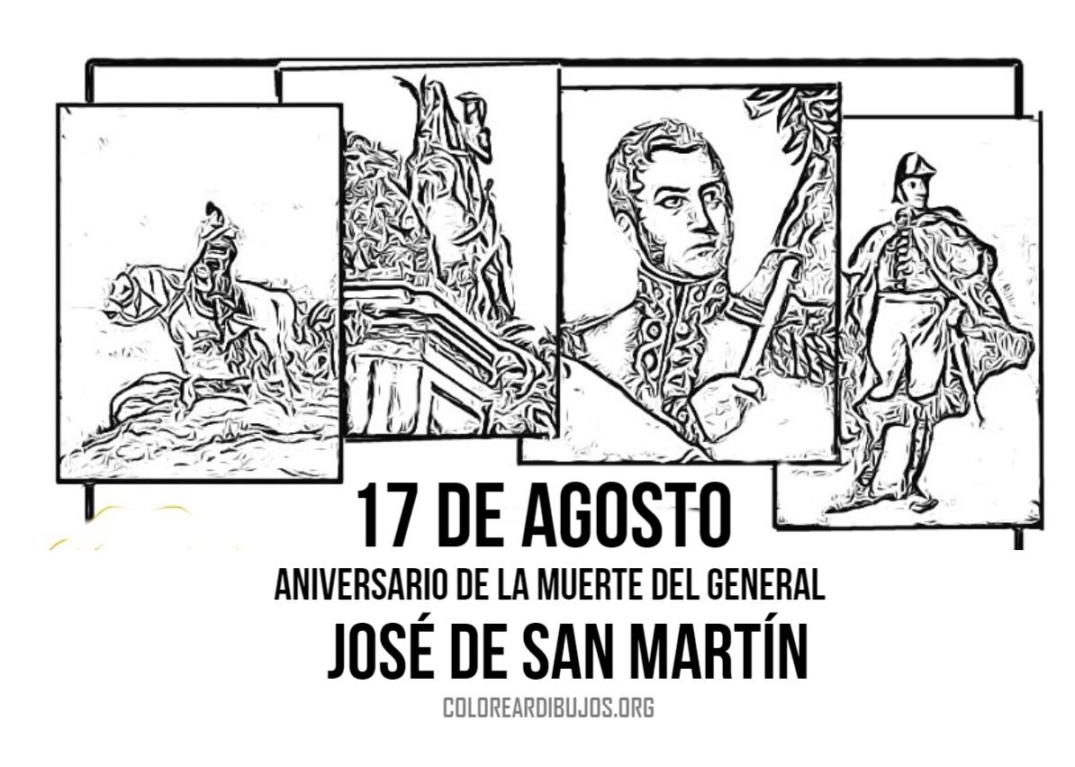 Dibujos De San Antonio Para Colorear: 17 De Agosto Dibujo De La Muerte Dek General San Martin