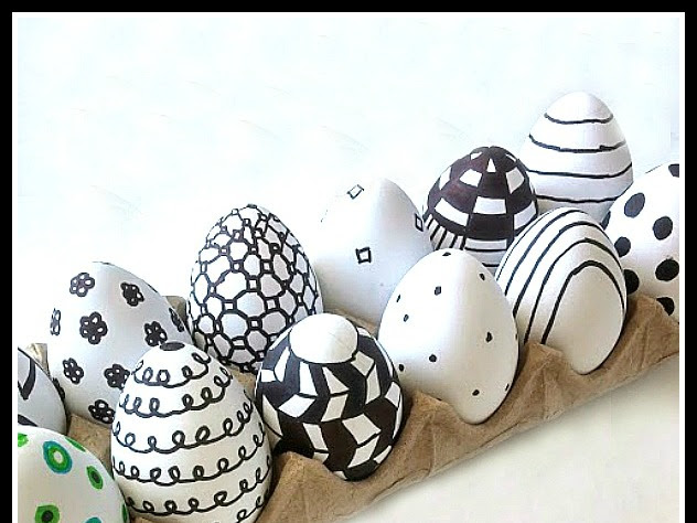 Graphic Eggs in Painted Cabinet