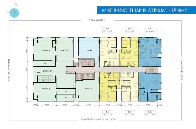 Mặt bằng tầng 2 tháp Platinum căn hộ Luxcity Quận 7
