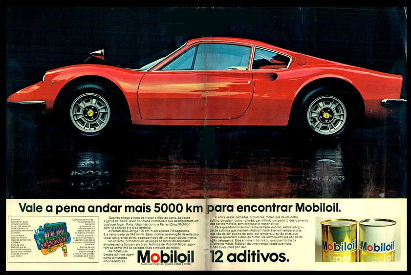 Mobiloil  Ferrari. 1973. brazilian advertising cars in the 70. os anos 70. história da década de 70; Brazil in the 70s; propaganda carros anos 70; Oswaldo Hernandez;