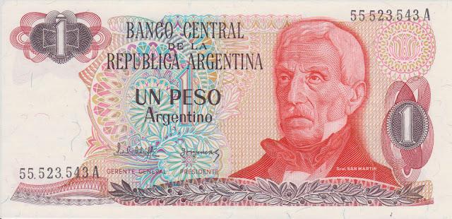 Argentina Banknotes 1 Peso Argentino banknote 1985 Jose de San Martin