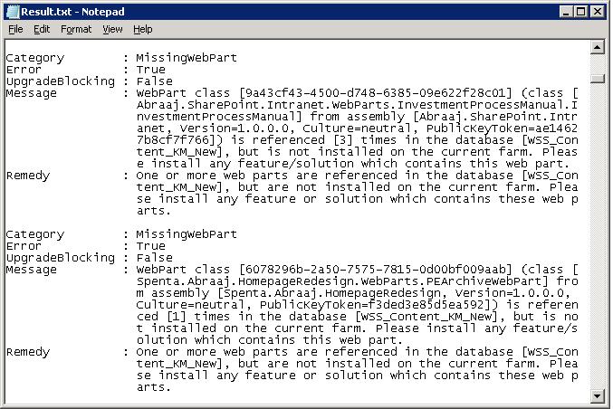 sharepoint 2013 test-spcontentdatabase missingwebpart