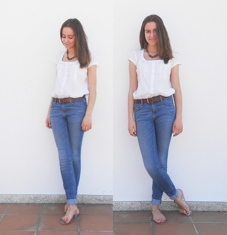outfit   blue jeans, white shirt