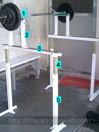 Shown Below Is A Pair Of The Squat Racks I Built When They Were Newly Painted Re Positioned For Exercise Barbell Atop