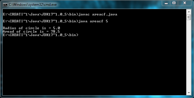 Program to find area of circle using power function in command line