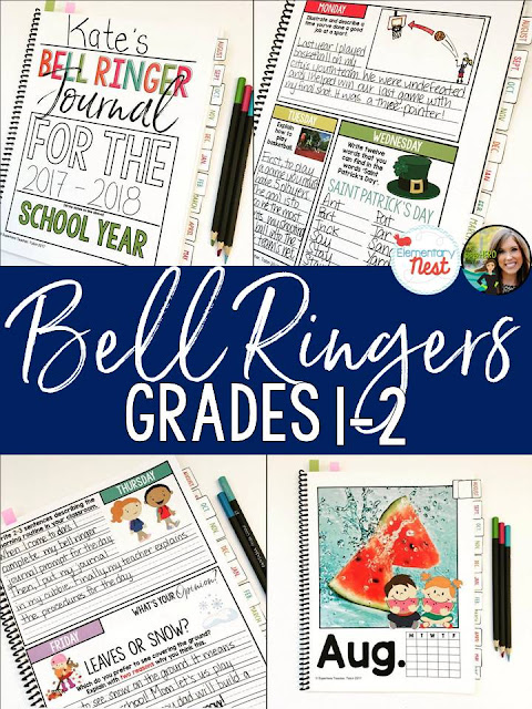Bell Ringers Writing Activities- writing warm-up and writing review activities for primary classroom- can be used as daily writing journals