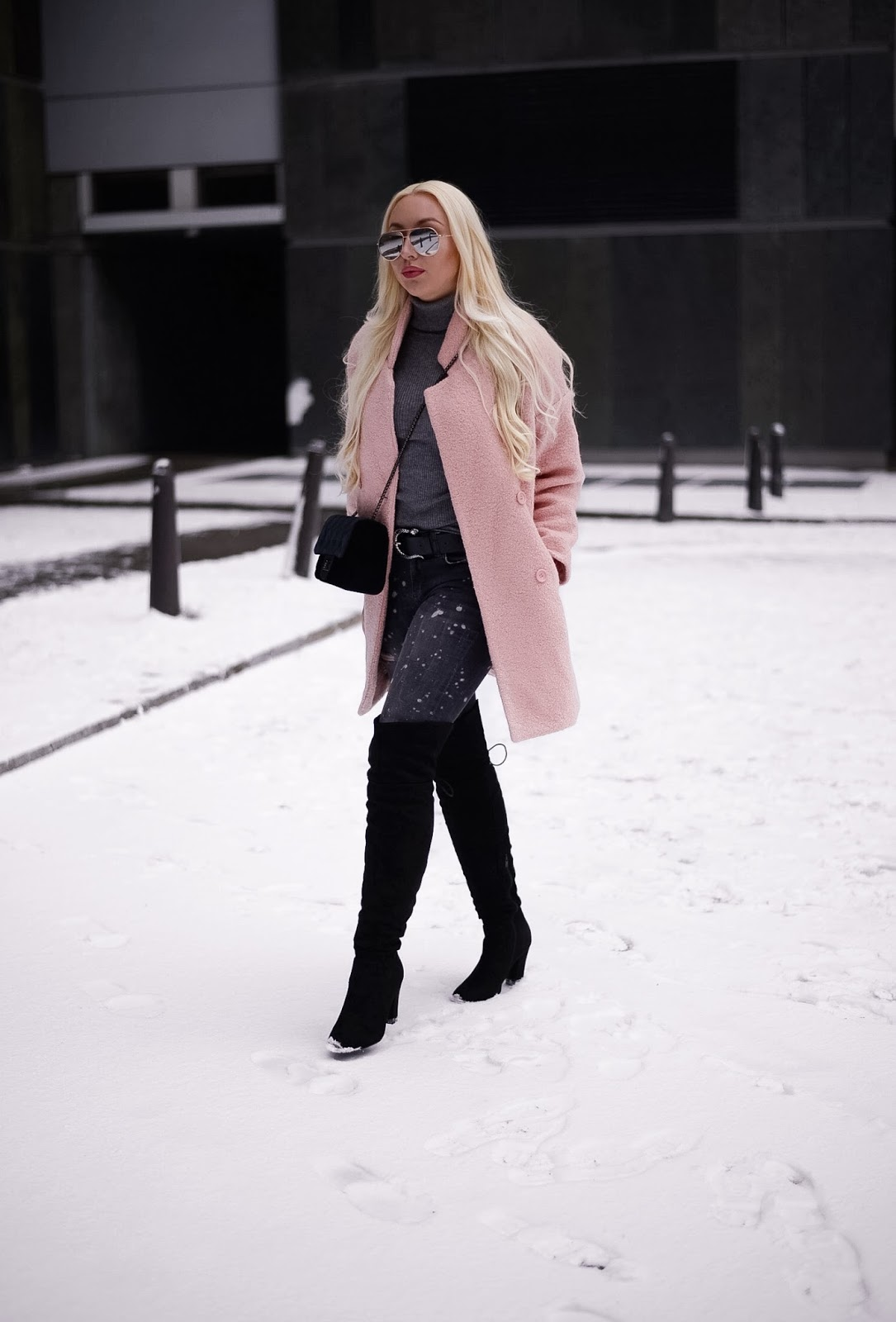 winter streetstyle_pink coat