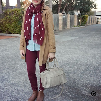 awayfromtheblue instagram camel trench burgundy pants ankle boots and mint stripe shirt outfit