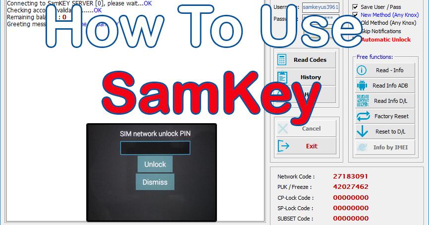شرح طريقة إستخدام برنامج SamKey لفك شفرات أجهزة سامسونج جلاكسى