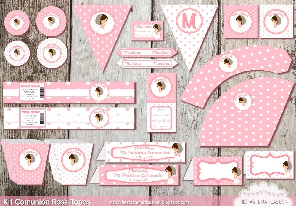 Kit de fiesta comunión rosa topos