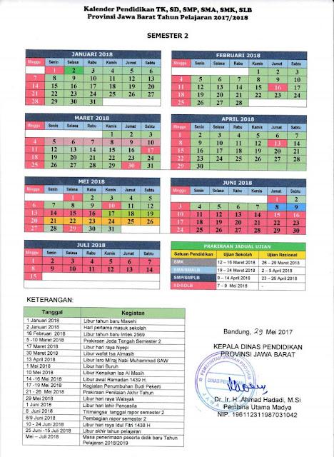 Kalender Pendidikan Tahun 2018 PAUD/TK/SD/SMP/SMA