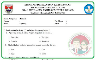 Soal UAS / PAS Kelas 1 Tema 3 Kurikulum 2013 Revisi 2018