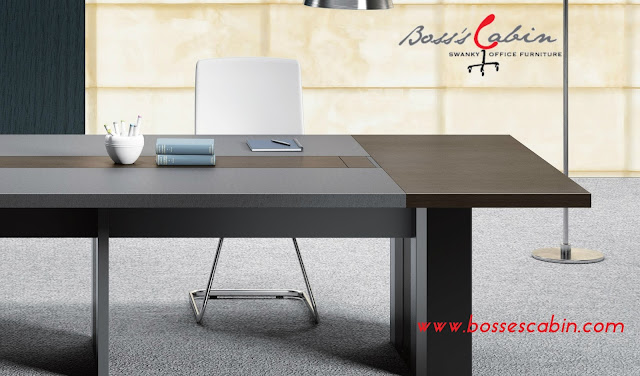 Larry Conference Table In Leather Wood Online Office Furniture - Conference table india