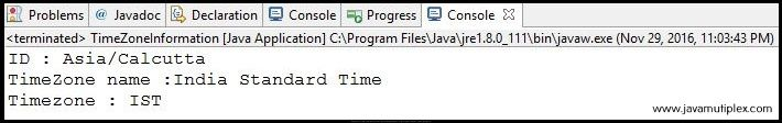 Output of Java program how to find time zone information.