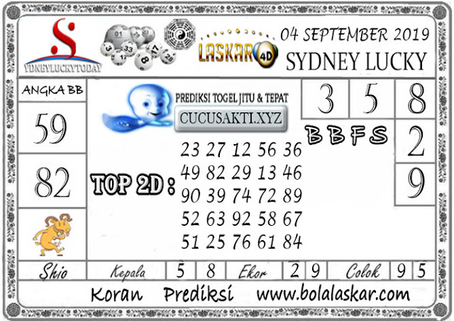 Prediksi Sydney Lucky Today LASKAR4D 04 SEPTEMBER 2019