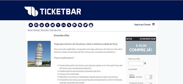 Ticketbar para ingressos para a excursão à Pisa