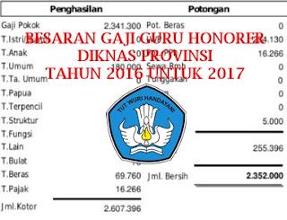 Informasi Besaran Gaji Honorer Dari DIKNAS Provinsi Tahun 2017