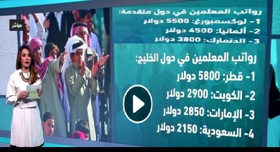 رواتب المعلمين بالدول العربية والمتقدمة مصر 50 دولار وقطر 5800 والامارات 2850 دولار ولوكسمبرج 5800 دولار للمعلم المبتدئ