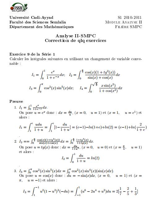 Exercices Corrigés Analyse II SMPC S2 -Semlalia
