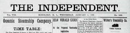 The headline from a 1900s Independent Newspaper.