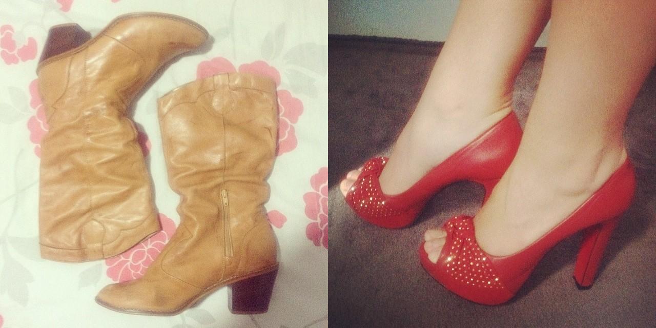 e789155a4 Para os meses de fevereiro e março eu escolhi os sapatos acima. Os dois  foram vendidos para amigas, pois estavam em bom estado (o vermelho eu nunca  tinha ...