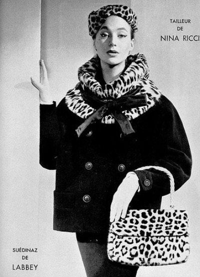Suit with leopard trim by Nina Ricci 1954 Photo by Maurice Petit
