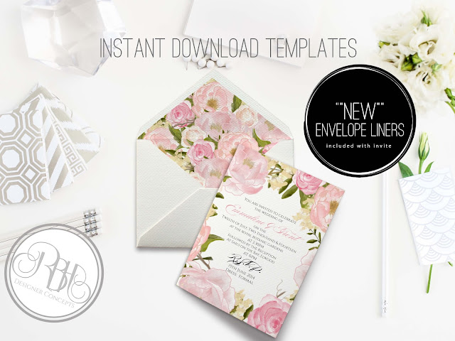 Pink Peony Watercolor Wedding Invitation Envelope Liner