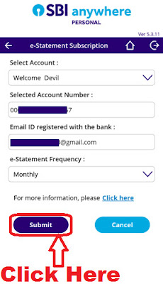 how to register for sbi monthly e statement