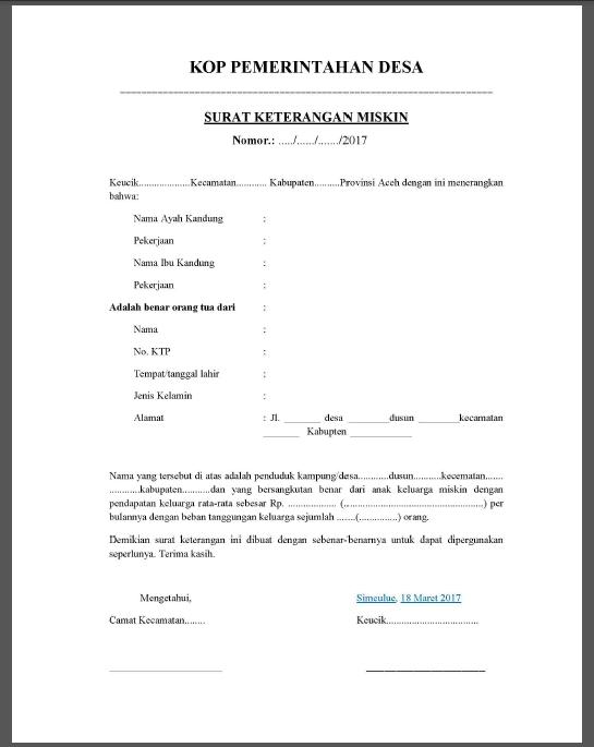 Contoh Surat Keterangan Miskin\/ Tidak Mampu Dari Pihak Berwenang  List Kerja
