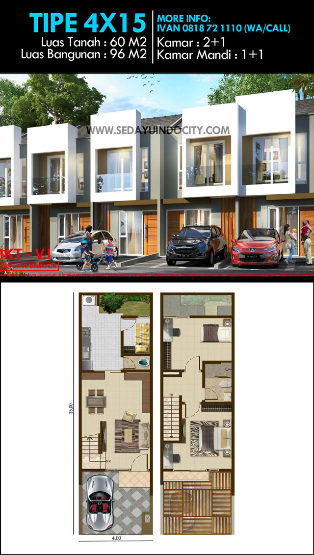 Contoh Denah Rumah Lebar 4 Meter  denah dan desain rumah pik2 pik 2 sedayu indo city