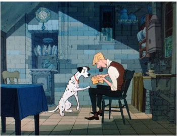 Roger with Pongo 101 Dalmations 1961 animatedfilmreviews.blogspot.com