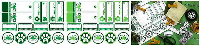 St. Patrick's Day dog treat tags and labels