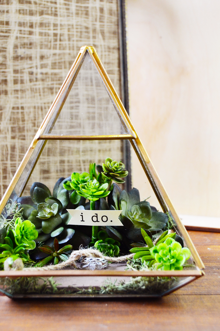 diy terrarium wedding ring pillow box faux succulents