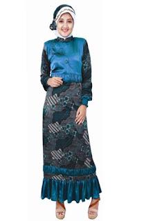 Baju Gamis Batik Kombinasi Sifon