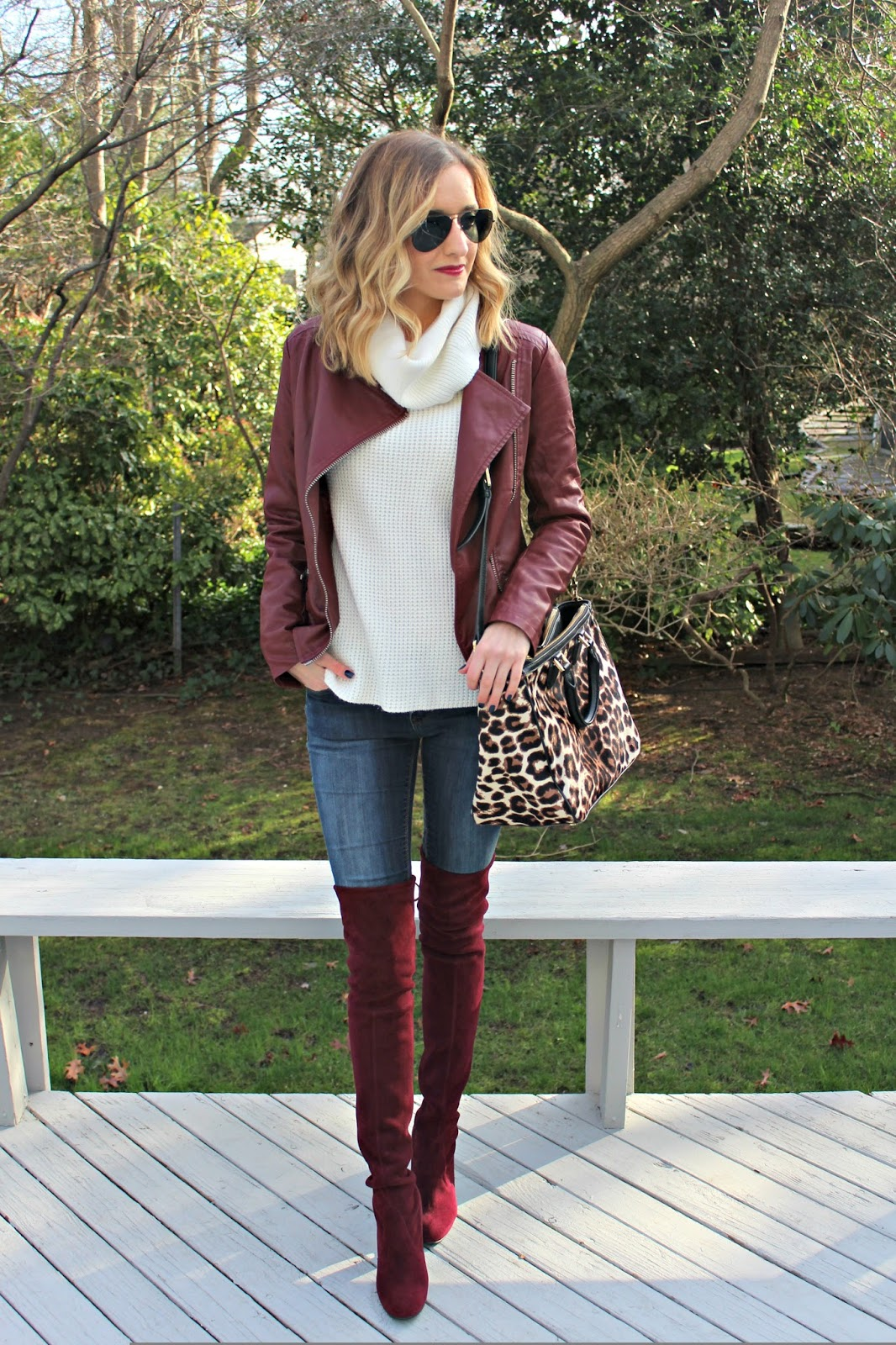 matching burgundy outfit