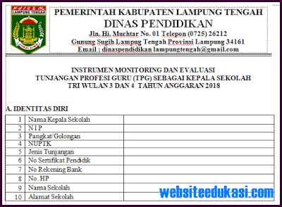 Format Instrumen Monitoring dan Evaluasi Kepala Sekolah Tahun 2018/2019