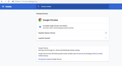Versi Google Chrome