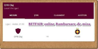Pareri BETFAIR online Rambursare de miza FCSB CFR CLUJ