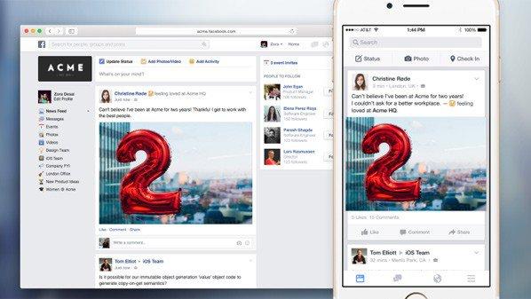 فيسبوك تطلق تطبيقات ونسخة الويب لشبكتها للأعمال
