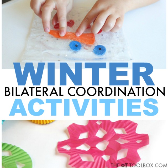 These winter bilateral coordination activities are great for helping kids develop the skills to use both hands together in tasks like handwriting, cutting with scissors, and more.