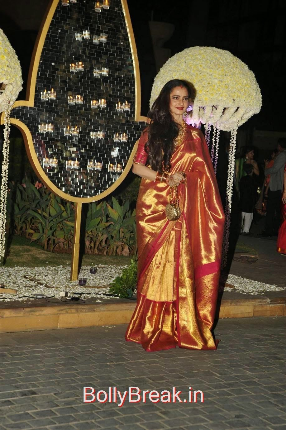 Rekha Pictures, Hot HD Images of Rekha in saree from Riddhi Malhotra Wedding Reception