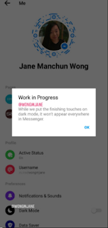 Jane Manchun Wong messanger dark mode screen shot