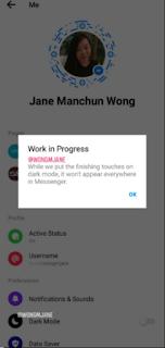 Jane Manchun Wong messanger dark mode screen shot