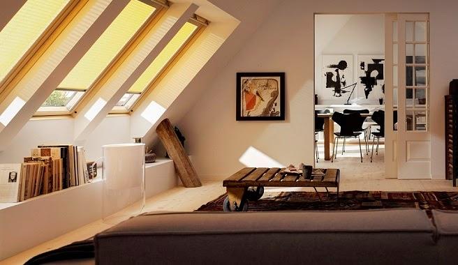 sala techo inclinado