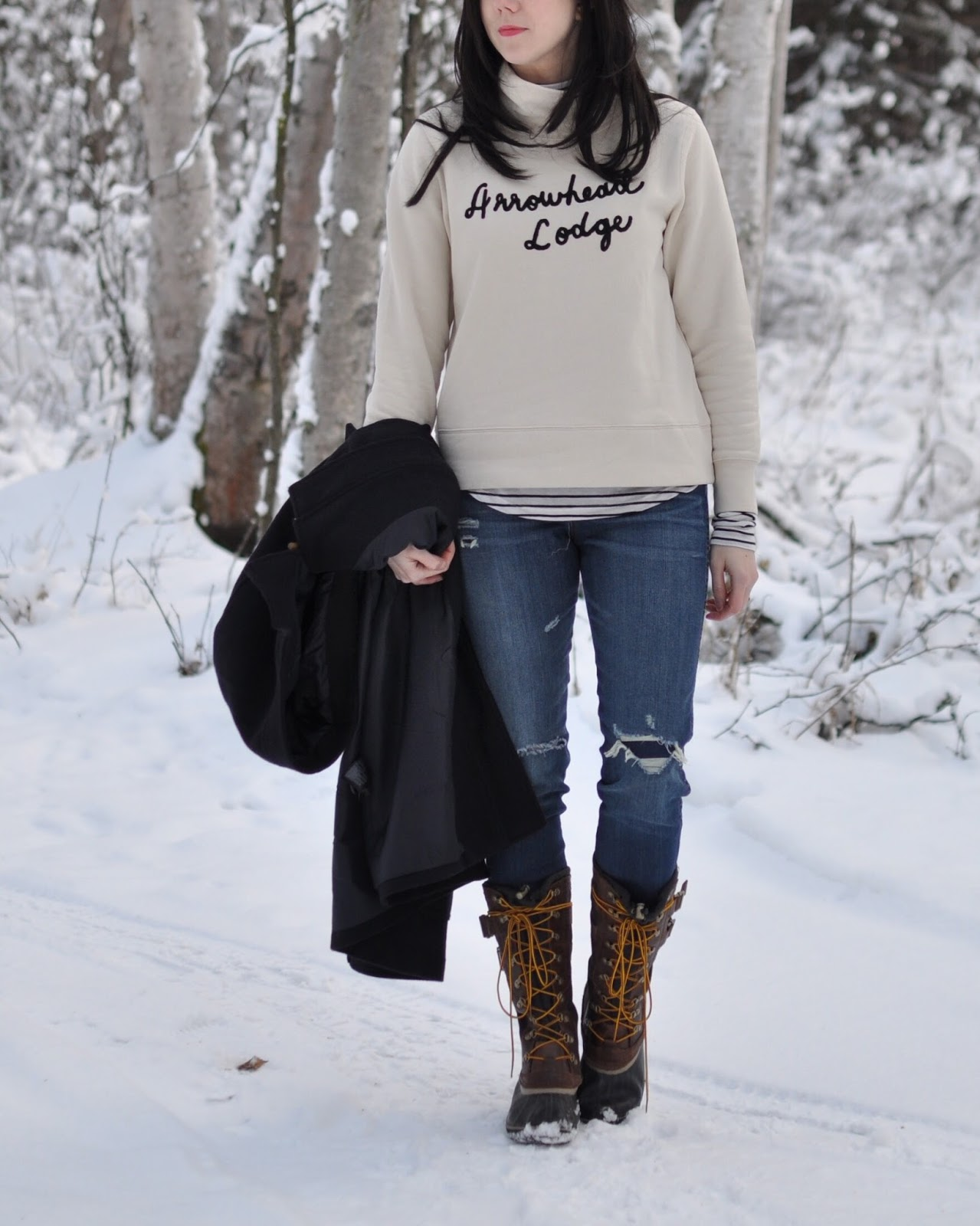 Snow outfit style inspiration cold weather sweatshirt sorel boots