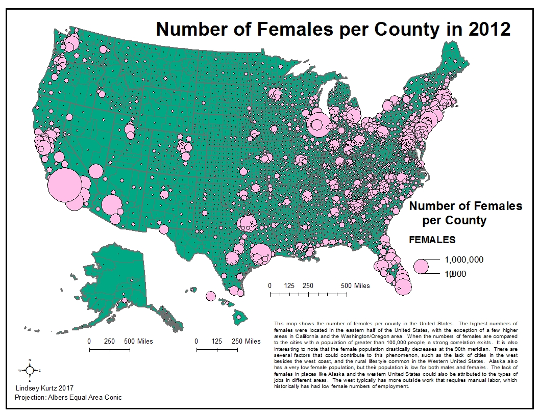 proportional symbol map of the number of females per county in 2012