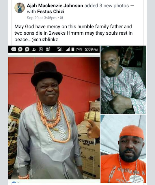 Photo: Father and two adult sons from Rivers State die within two weeks