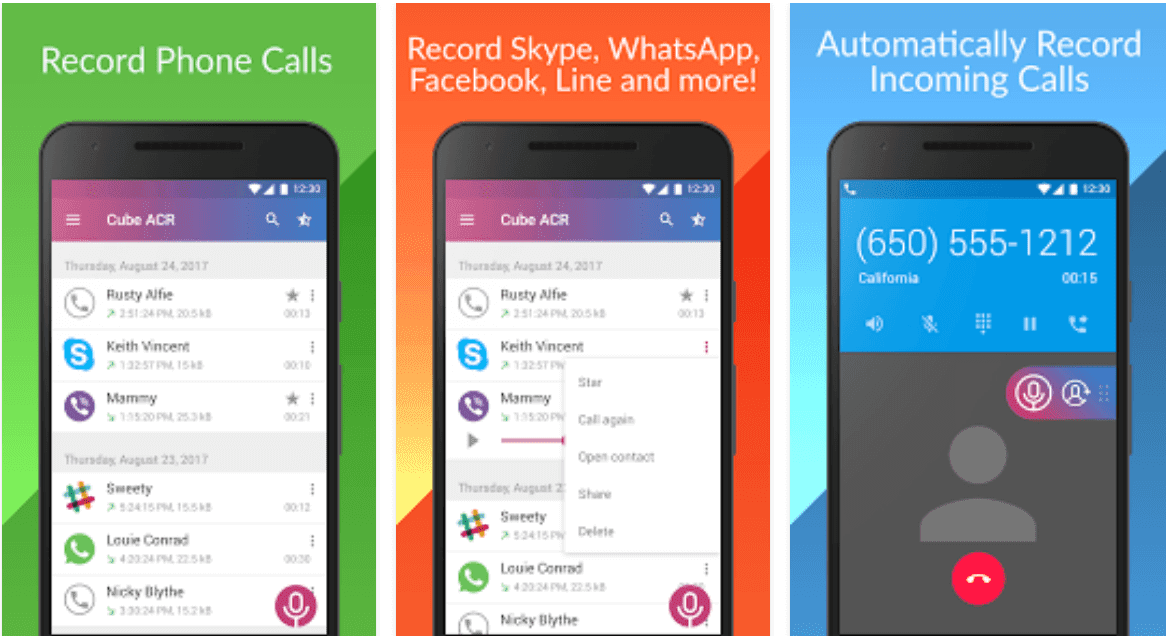 Cube Call recorder premium apk to record WhatsApp, Viber, Skype and Tango calls