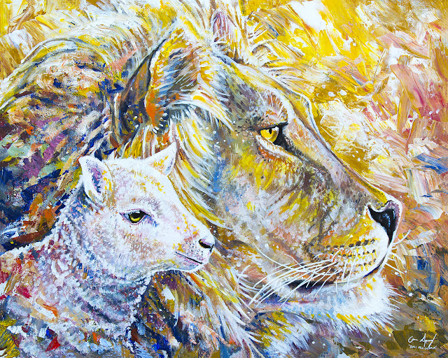 Acrylic painting of the Lion and the Lamb representing Jesus Christ christian artwork by Aaron Spong